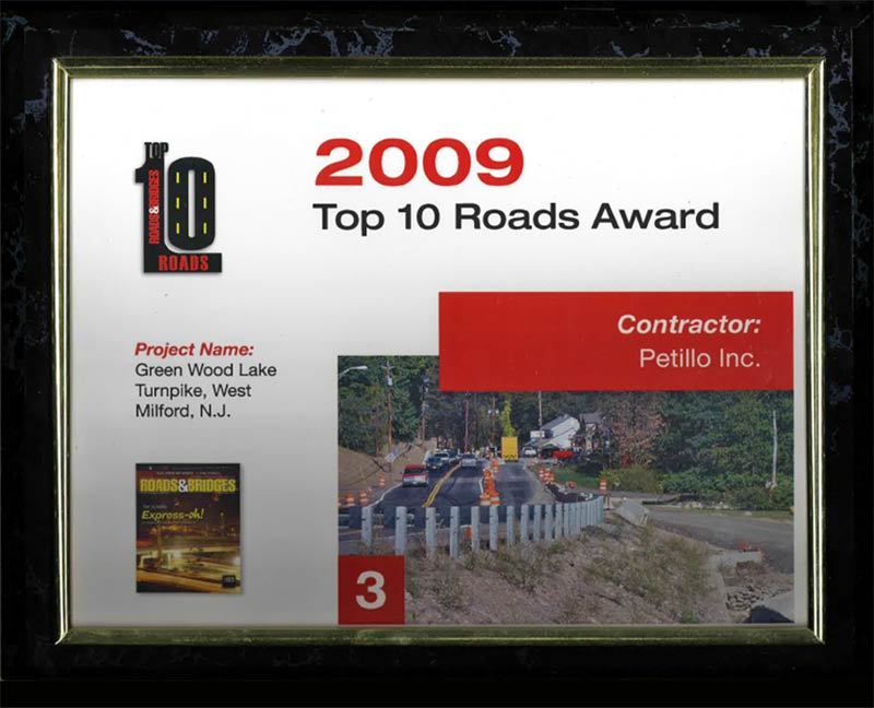 2009 - Top 10 Roads and Bridges Award Green Wood Lake Turnpike