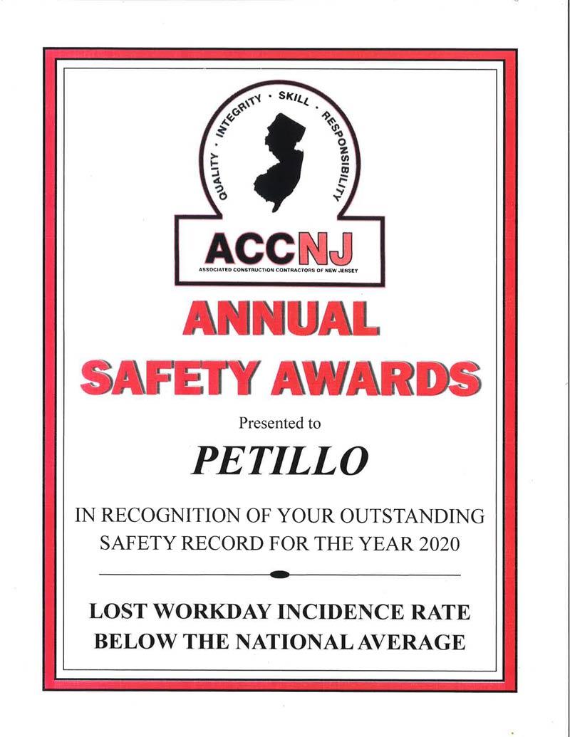 2020 ACCNJ Annual Safety Award