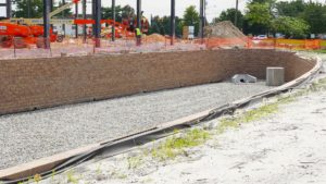 An alternate perspective of the retaining wall and water distribution system in Edison, New Jersey.