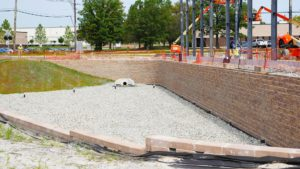 Retaining wall and water distribution system in Edison, New Jersey.