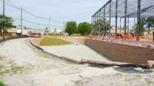 225 Raritan Center Parkway project with retaining wall and water distribution completed.