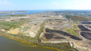 Aerial view of the top soil being cleared.