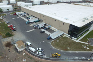 Aerial view of the warehouse loading dock at Bayonne Crossings.