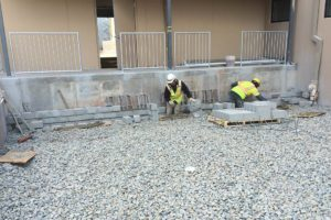 Masonry work being completed at the Clark Commons project.