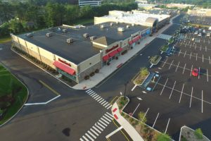 Completed mall and parking lot at Clark Commons in Clark, New Jersey.