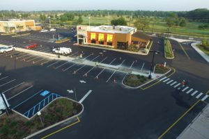 Completed Applebees restaurant at Clark Commons.