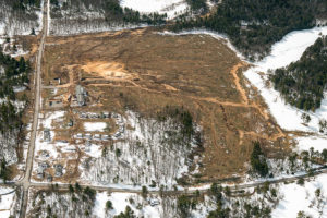 Aerial perspective of the initial land clearing and excavating of the Empire Casino and Resort