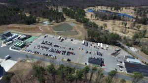 An aerial view of the parking lot construction of the Entertainment Village in Monticello New York
