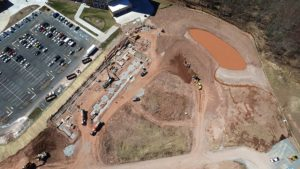 Direct overhead aerial view of construction at Entertainment Village in Monticello NY