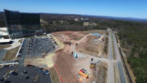 An aerial view of the construction of Entertainment Village in Monticello, NY