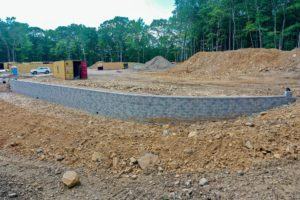 Completed retaining wall.