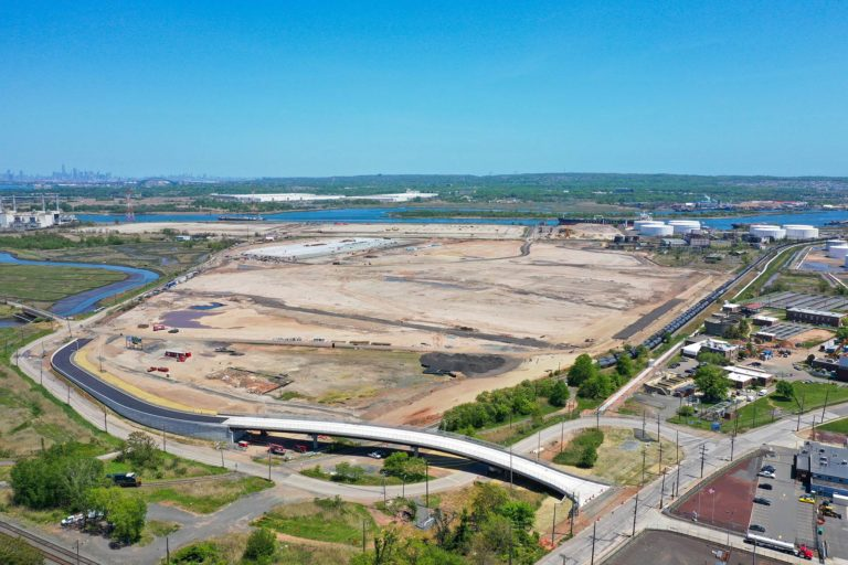 Linden Logistics Center construction project aerial photo looking towards the river