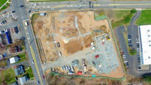 Overhead view of the construction of Hanover Commons in East Hanover, NJ