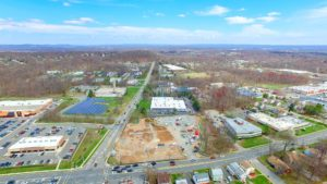 An aerial photo of the Hanover Commons construction site taken from 350 feet from the North East