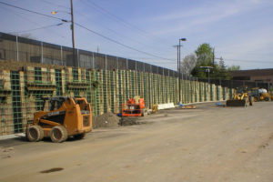 Heavy equipment is on-site at the Home Depot project in Paterson, New Jersey.