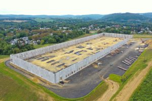 3/4 overhead view of exterior warehouse walls