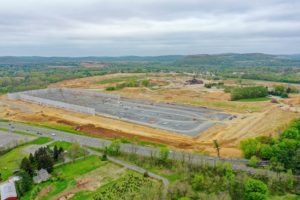 Alternative view of logistics warehouse construction near I-78