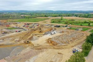 Crushing site materials for I-78 Logistics project
