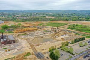 Aerial view of worksite at I-78 Logistics Warehouse