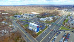 An aerial photo of the completed I-Fly project in Paramus New Jersey taken from 350 feet to the North East.