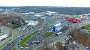 An aerial photo was taken from an altitude of 350 feet from the South East of the I-Fly project in Paramus, New Jersey.