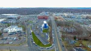 A long-distance aerial photo of the completed I-Fly project in Paramus, New Jersey.