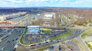 An aerial photo from the West at 350 feet showing the completed i-FLY in Paramus, New Jersey.