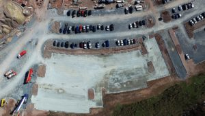 Overhead aerial view of the parking lot and curb construction.