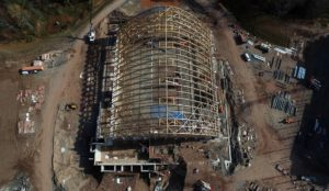 Overhead aerial view of building construction.