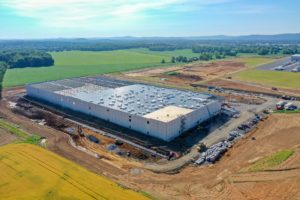 South East aerial perspective of the Lot 4 Warehouse construction.