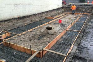 Foundation forms preparation for concrete pouring