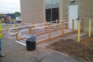 Wheelchair accessible ramp construction