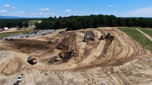 Aerial view of grading and excavation at Medline Warehouse construction project