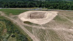 Aerial view of cleared lot at Medline Warehouse construction project.