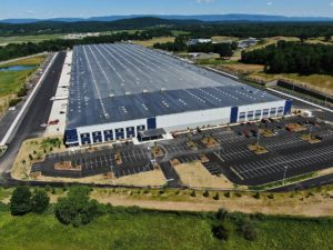 An aerial view of the completed warehouse for Medline by Petillo.
