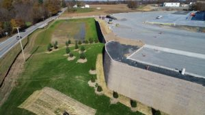 Retaining walls and landscaping completed around the Medline Warehouse