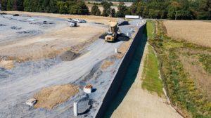 Medline Warehouse construction aerial view of dump truck
