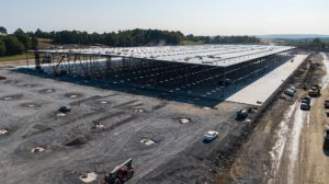 Medline Warehouse construction aerial view from an alternate angle