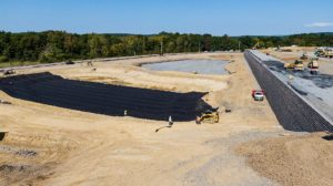 Medline Warehouse retaining wall and water management and distribution construction