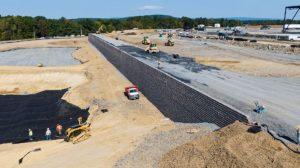 Medline Warehouse retaining wall construction