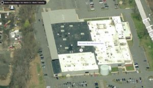 Aerial perspective of the Mercedes Benz Service Center in Morristown, New Jersey.