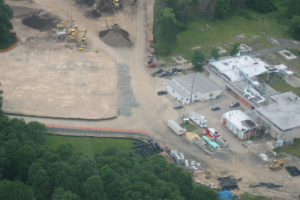 Aerial view of the construction of the New York Jets training facility.