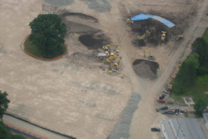 Land being levelled and cleared.