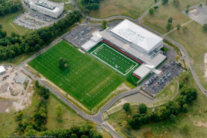 Overhead, aerial view of the completed New York Jets training facility.