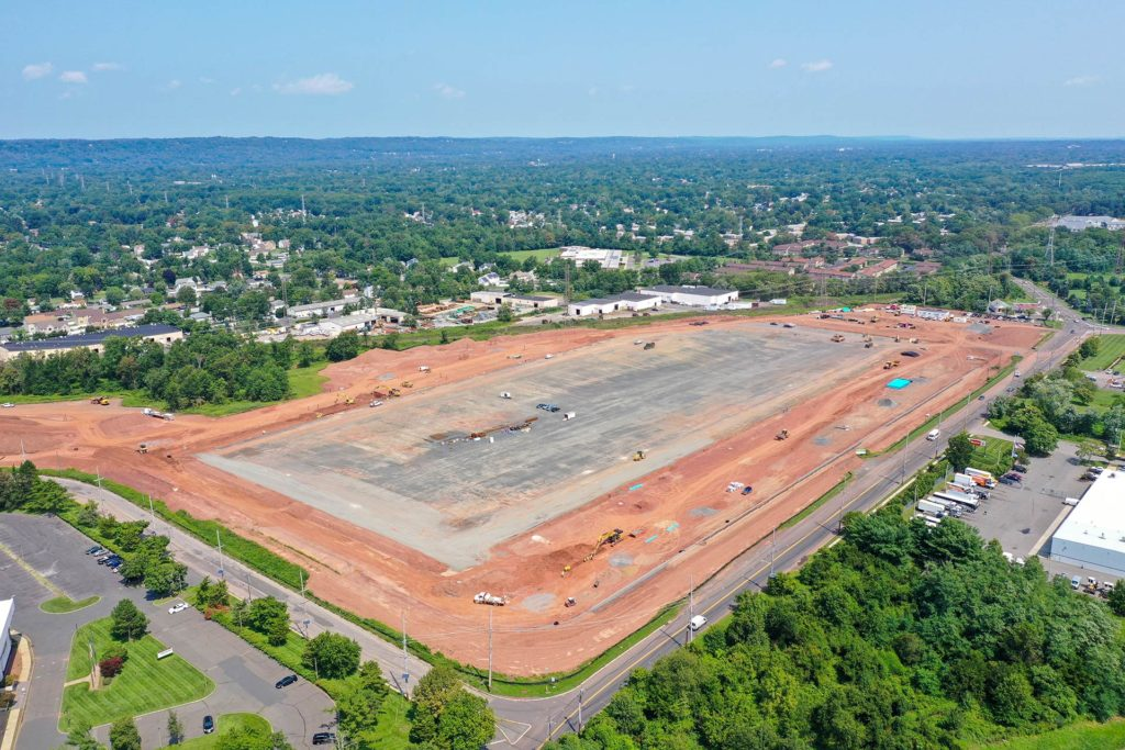 Old New Brunswick Road Construction Project in Piscataway, New Jersey aerial photo from 350ft to the North East