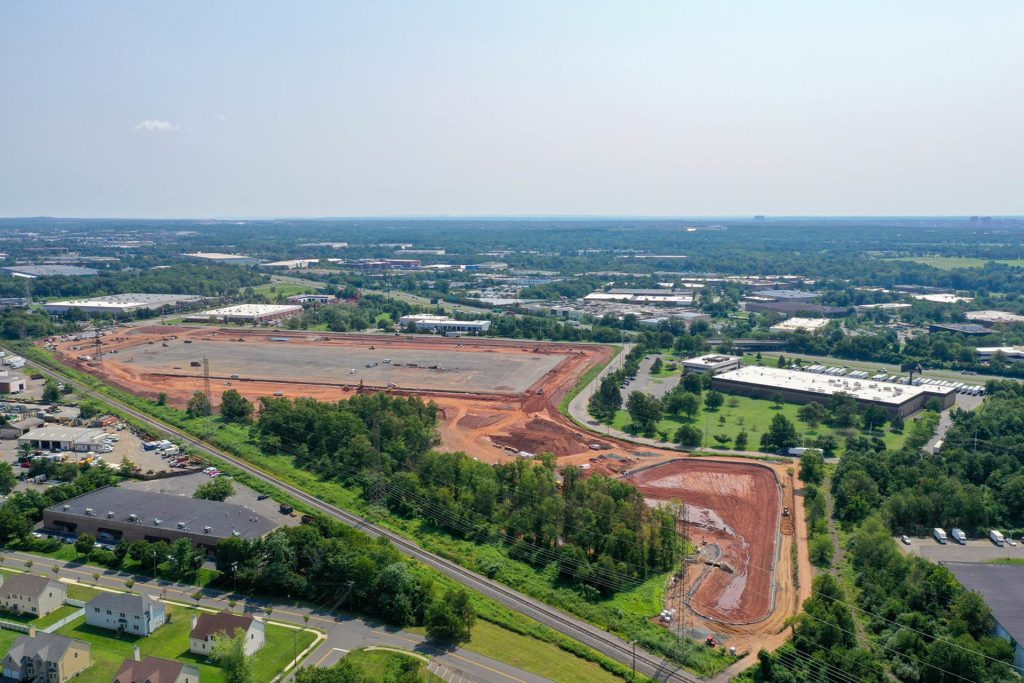Old New Brunswick Road Construction Project in Piscataway, New Jersey aerial photo from 350ft to the South East