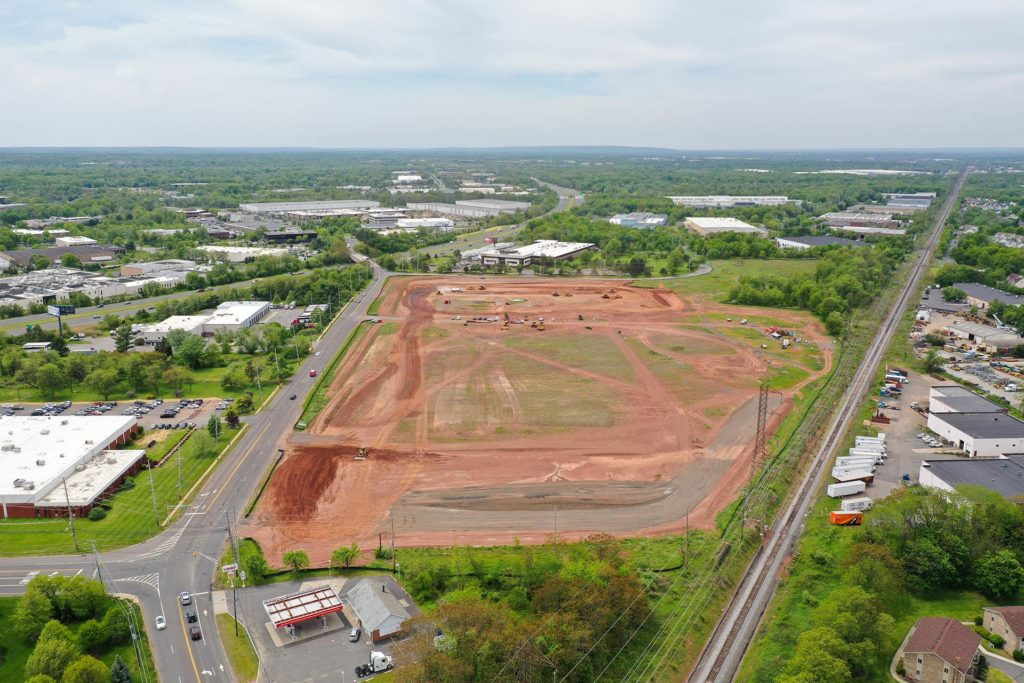 Old New Brunswick Road construction project aerial photo taken from 350ft from the West