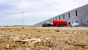 Ground level perspective of the warehouse construction at Port E in Elizabeth, New Jersey.