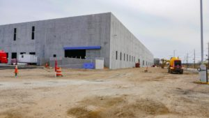 Completed concrete work of the exterior of the warehouse at Port E in Elizabeth, New Jersey.