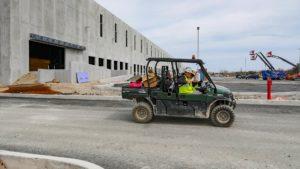 Petillo crew in an ATV at Port E construction site.